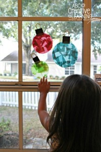 Christmas crafts for kids - stained glass window ornaments