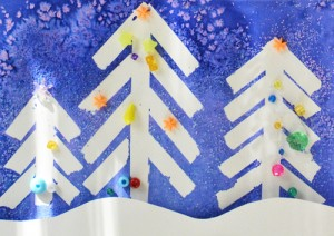 Christmas crafts for kids - winter wonderland painting