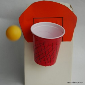 Preschool sports theme - DIY basketball game