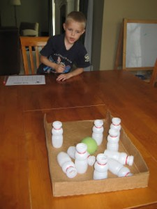 Preschool sports theme - addition bowling game