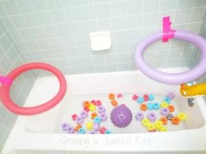 Preschool sports theme - bath hoop games