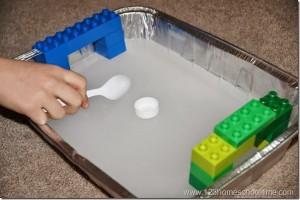 Preschool sports theme - ice hockey with lego goals