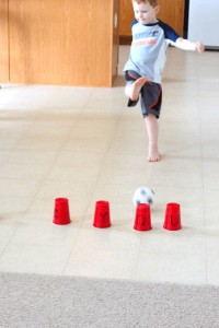 Preschool sports theme - kick the cup