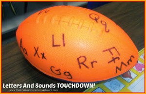 Preschool sports theme - letter and sounds touchdown