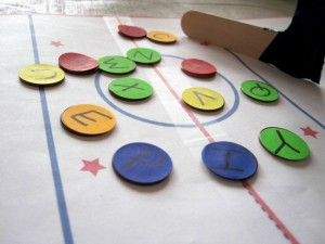 Preschool sports theme - letter hockey