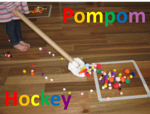 Preschool sports theme - pompom hockey
