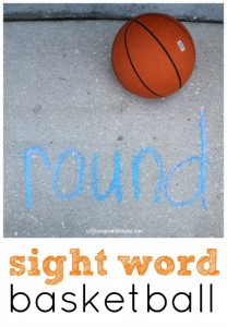 Preschool sports theme - sight words with basketball