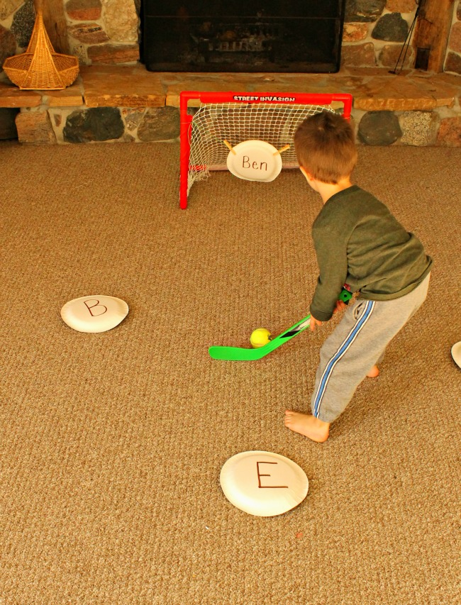 A great way to practice letters with hockey #learning #kidsactivities