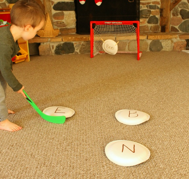 Playing hockey while learning letters