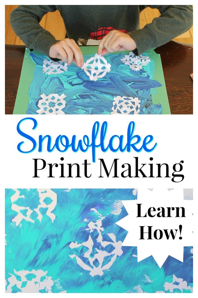 Snowflake print making! This is a great winter art project for kids using paper snowflakes. #winterart #artprojects #kidsactivities #kidscrafts #art #painting #snowflakes #winterfun