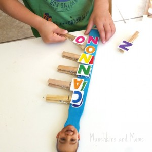 Name activities for preschoolers - clothespin na