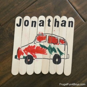 Name activities for preschoolers - craft stick puzzle