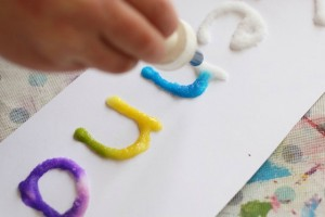 Name activities for preschoolers - glue and watercolor names