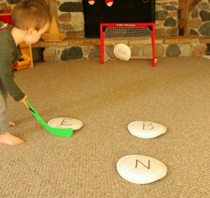 Name activities for preschoolers - name-hockey