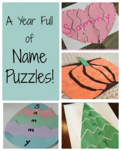 Name activities for preschoolers - name puzzles