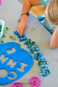 Name activities for preschoolers - play dough names