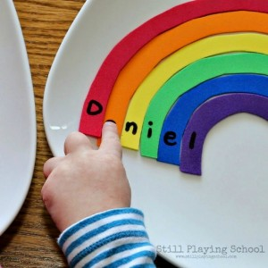 Name activities for preschoolers - rainbow name puzzle