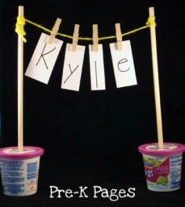 Preschool name games - clothesline names