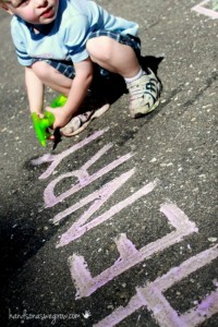 Preschool name games - fizzy spray sidewalk names