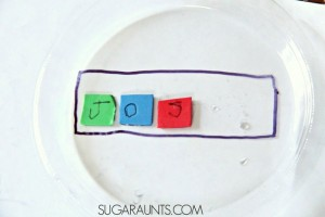 Preschool name games - name sensory soup
