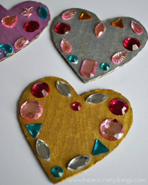 Valentines crafts for preschoolers - Jeweled Hearts