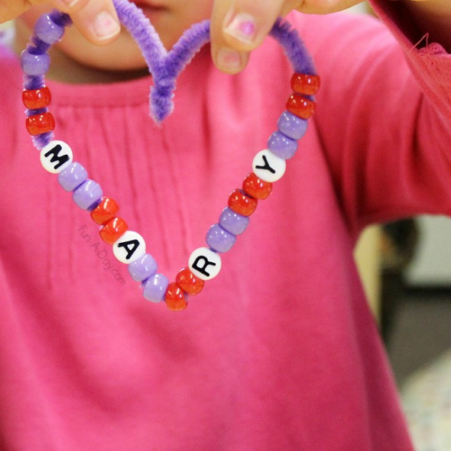 Valentines crafts for preschoolers - beaded name hearts