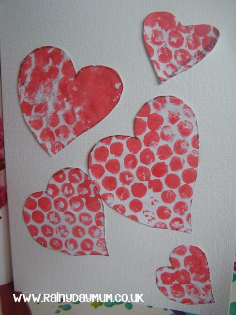Valentines crafts for preschoolers - bubble wrap hearts
