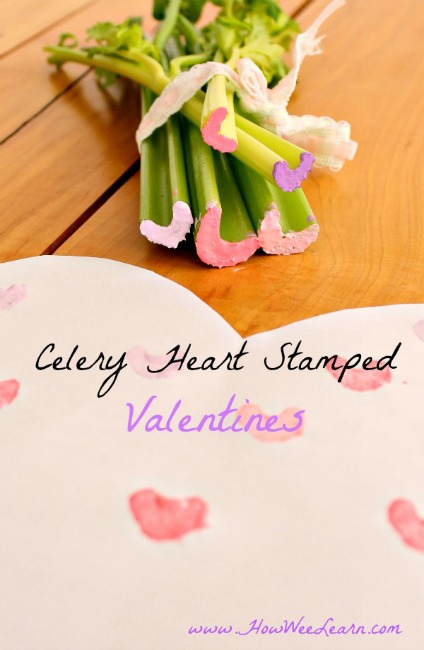 Valentines crafts for preschoolers - celery heart stamped valentines