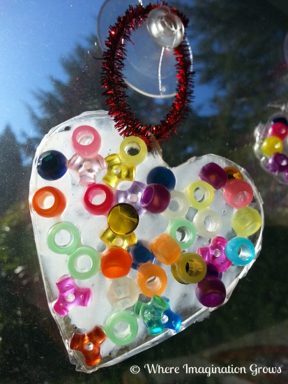 Valentines crafts for preschoolers - glue bead sun catchers