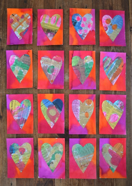 Valentines crafts for preschoolers - newspaper hearts