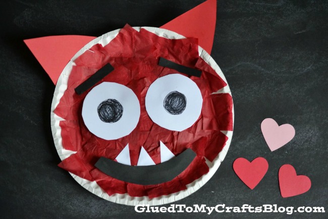 Valentines crafts for preschoolers - paper plate love monster