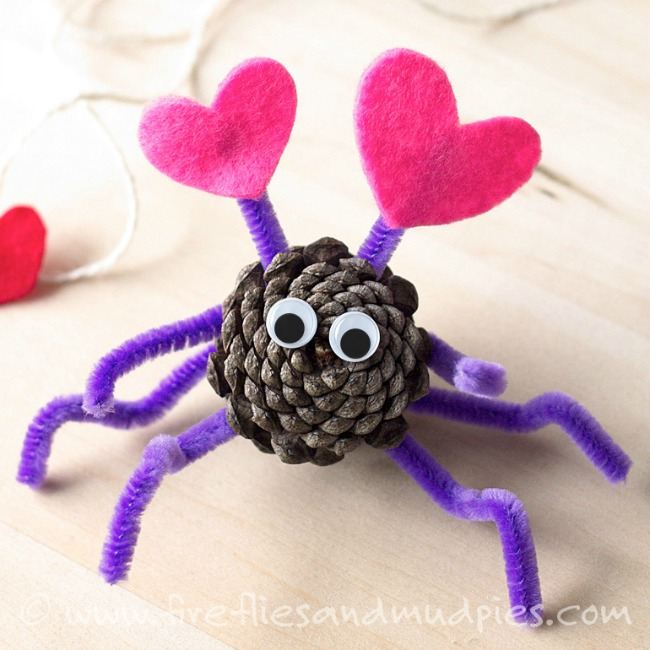 Valentines crafts for preschoolers - pine cone love bug