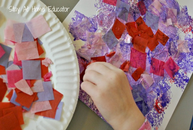 Valentines crafts for preschoolers - process art collage