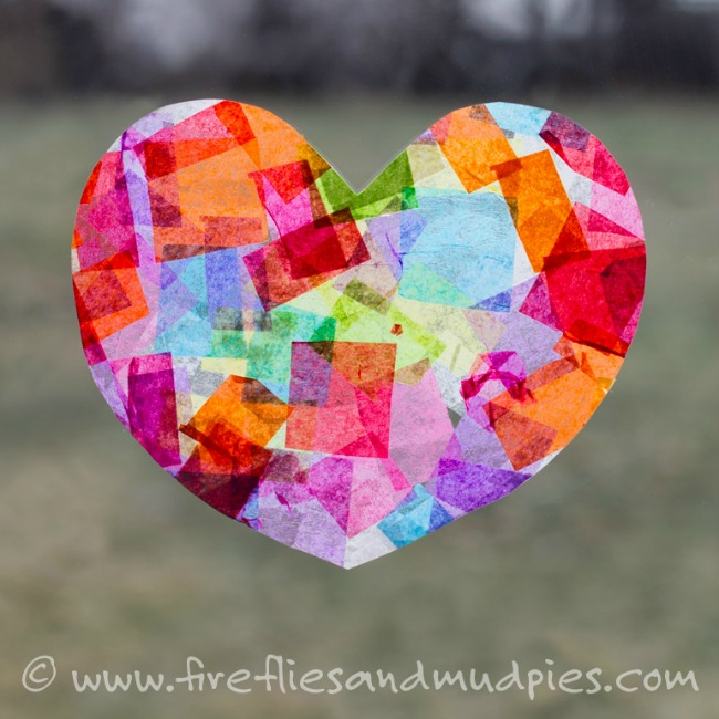 Valentines crafts for preschoolers - rainbow heart sun catcher
