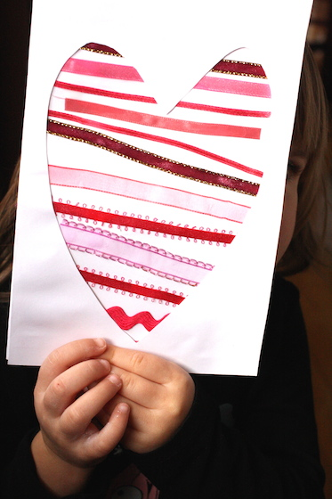 Valentines crafts for preschoolers - ribbon hearts