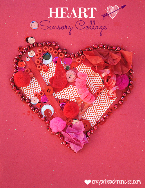 Valentines crafts for preschoolers - sensory heart collage