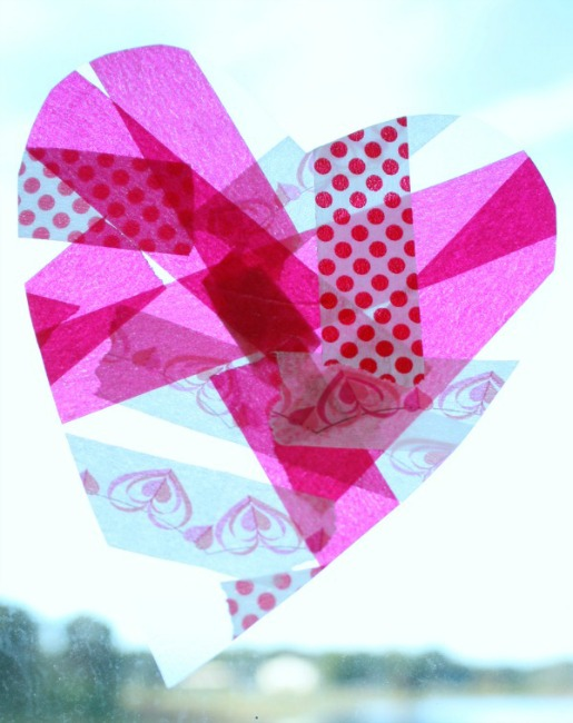 Valentines crafts for preschoolers - tape hearts