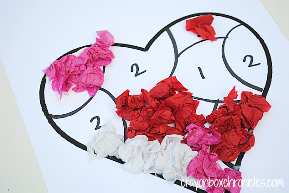 Valentines crafts for preschoolers - tissue paper by number heart