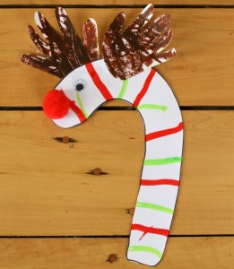 Adorable handprint antler candy cane reindeer!!