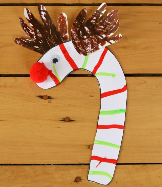 Adorable handprint antler candy cane reindeer!!