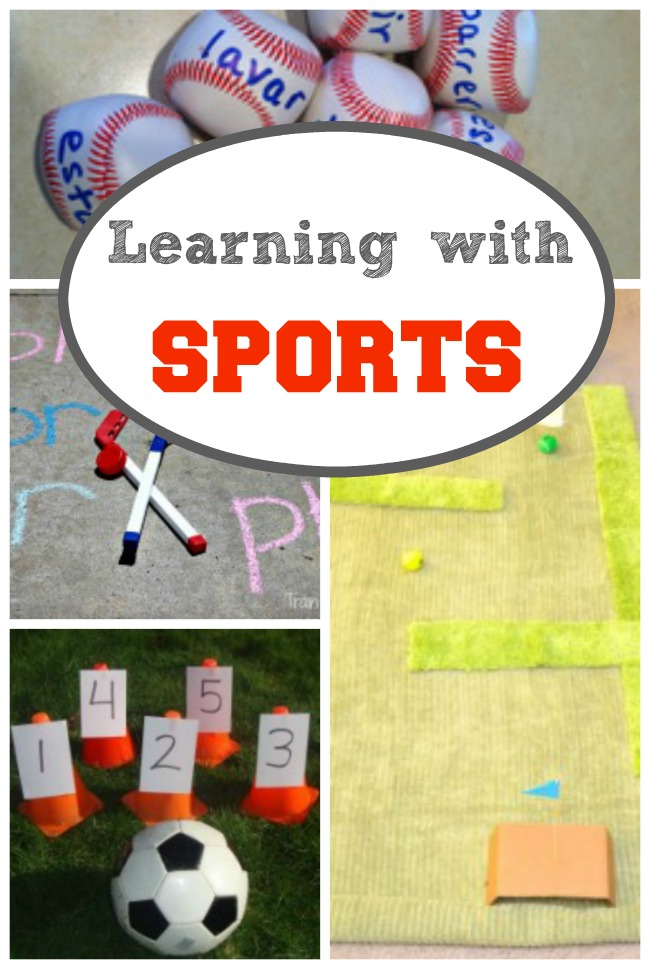 TONS of ideas for learning activities for preschoolers that use SPORTS! Awesome for summer fun to get kids ready for school.