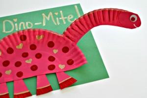 Paper plate valentine crafts - dinosaur valentines