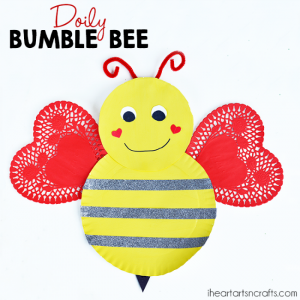 Paper plate valentine crafts - doily bumble bee