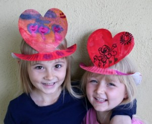 Paper plate valentine crafts - heart hats