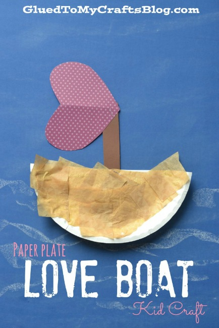 Paper plate valentine crafts - love boat