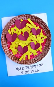 Paper plate valentine crafts - pepperoni pizza craft