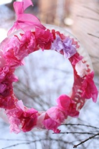 Paper plate valentine crafts - tissue paper and paper plate wreath
