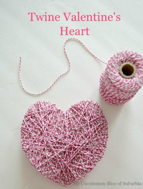 Paper plate valentine crafts- twine hearts
