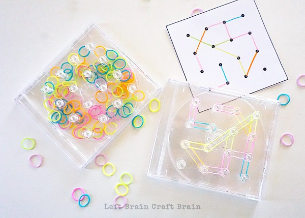 Quiet time activities - clear travel geoboard