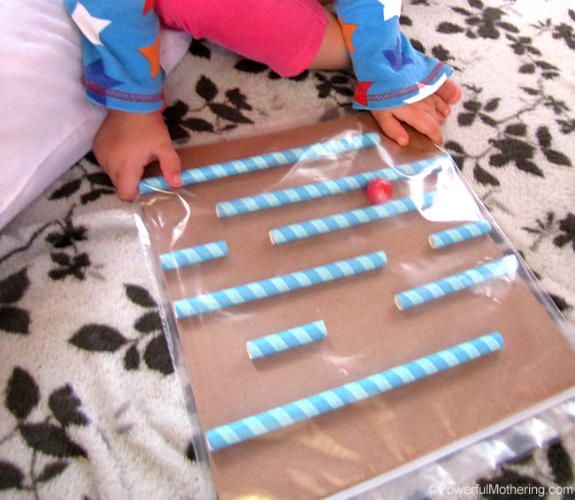 Quiet time activities for a car ride - baggie maze